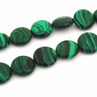 16 Inch Malachite 10mm Coin Beads